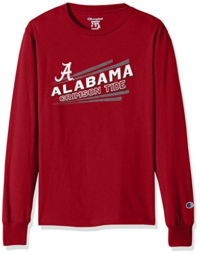 Crimson Youth Fan Gear - NCAA Alabama Crimson Tide Youth Boys Long sleeve Jersey Tee, Small, Cardinal
