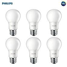 Philips LED Non-Dimmable A19 Frosted Light Bulb: 1000-Lumen, 5000-Kelvin, 9.5-Watt (75-Watt Equivalent), E26 Base, Daylight, 6-Pack