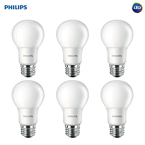 Philips LED Non-Dimmable A19 Frosted Light Bulb: 1000-Lumen, 5000-Kelvin, 9.5-Watt (75-Watt Equivalent), E26 Base, Daylight, 6-Pack