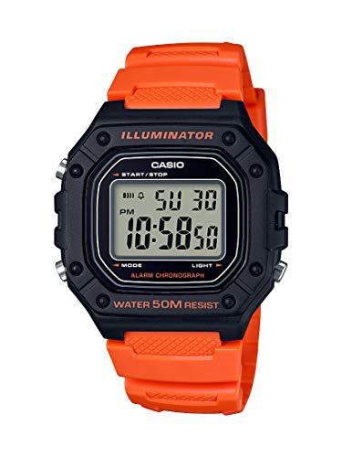 Casio Men's Classic Stainless Steel Quartz Watch with Resin Strap, Orange, 21.1 (Model: W-218H-4B2VCF