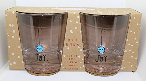 Rae Dunn Joy. in Script letters with Blue Christmas Ornament Set of 2 DOF Glasses 11 oz. in Gift Box. By Magenta.