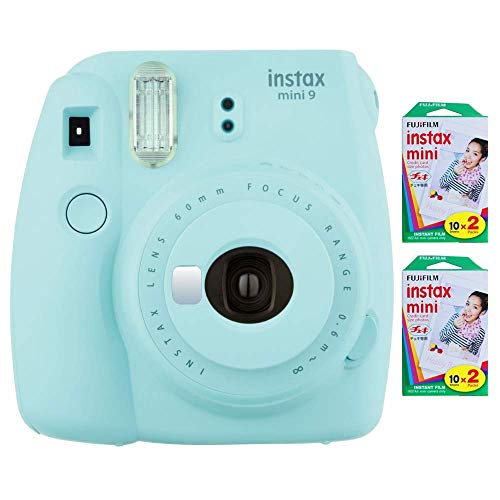 Fujifilm Instax Mini 9 Instant Camera (Ice Blue) with 2 x Instant Twin Film Pack (40 Exposures) (Renewed)