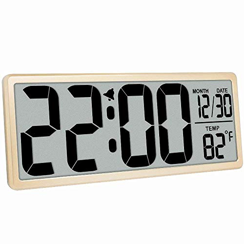 "TXL 13.9"" Oversized LCD Clock with 4.6"" Bold Digit/Date/Temperature Battery Operated Large Digital Wall Clock Jumbo Alarm Clock Office Kitchen Large Display, Button Cell Battery Backup Included, Gold"