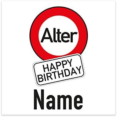 Herz & Heim® Flaschenaufkleber zum Geburtstag im Verkehrszeichen-Look mit Name und Alter 6 Stück