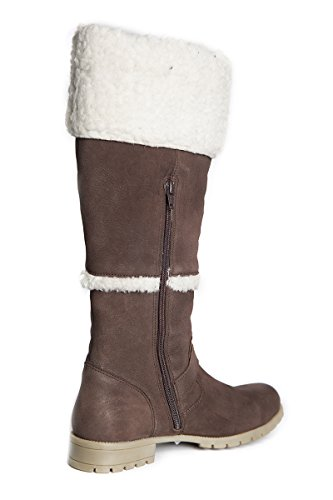 Length Black Zip up and 14 Calf Width and Dark Brown Inches Boot Womens Calf Fur 15 Leather Mid brown Inches boots 15 BPYqf0W