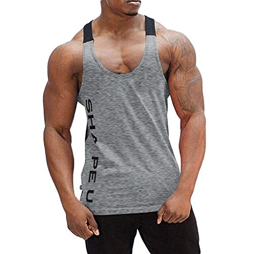 MTENG Men's Dry Fit Muscle Workout Gym Sport Sleeveless Tank Top Shirts Vest Athletic Shirt Compression Sport Running T Shirts(Gray,M)