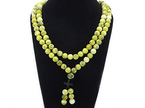 jennysun2010 Natural 10mm Yellow Turquoise Gemstone Buddhist 108 Beads Prayer Mala Long Necklace Multi-Purpose about 43