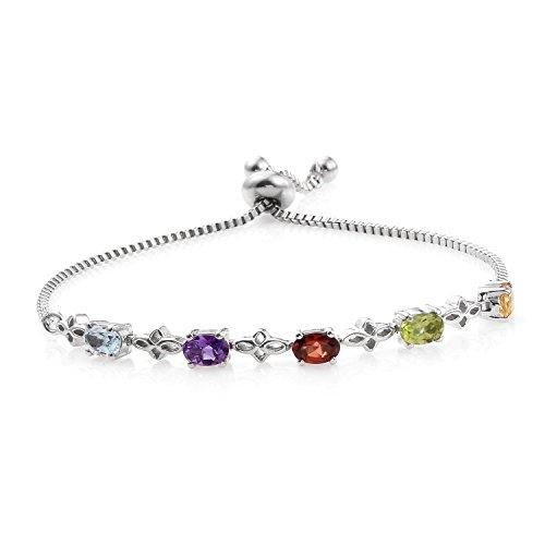Mix Metal Oval Sky Blue Topaz, Multi Gemstone Bolo Strand Bracelet For Women Cttw (Topaz Multi Strand Bracelet)