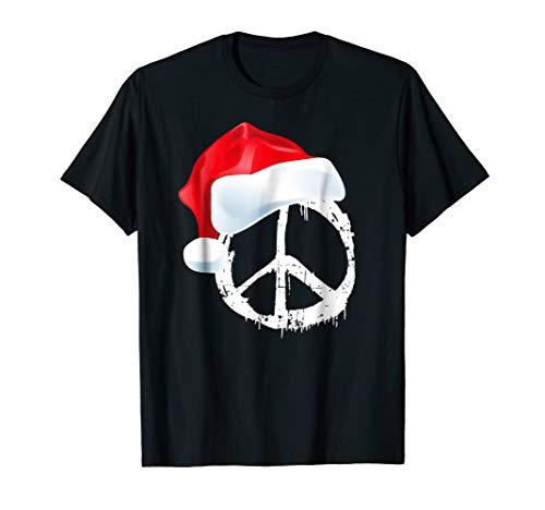 Distressed T-shirt Hat - Peace Sign | Vintage Distressed | Symbol | Hippie Santa Hat