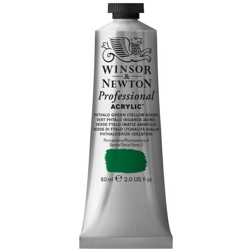 Winsor & Newton Professional Acrylic Color Paint, 60ml Tube, Phthalo Green Yellow (Transparent Phthalo Green)