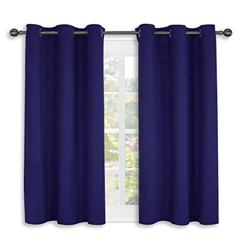 NICETOWN Dark Blue Blackout Draperies Curtains, All Season Thermal Insulated Solid Grommet Top Blackout Curtains/Drapes for Kid's Room (1 Pair,42 x 45 Inch) (Curtain Blue)