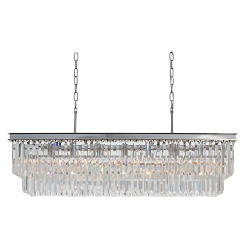 Nickel Rectangular Chandelier (D'Angelo 40 inch Clear Glass Crystal Prism Chandelier, Brushed Nickel Finish)