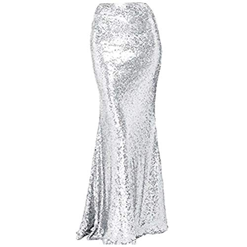 (NaXY Simply Sequin Party Skirt Maxi Dresses for Prom Cocktail Party Evening Casual Dresses Skirt Silver Size 24w)