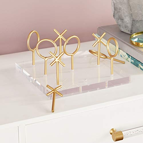 CosmoLiving by Cosmopolitan 56988 Glam Style Metallic Gold Tic Tac Toe Game Set on Clear Acrylic Board