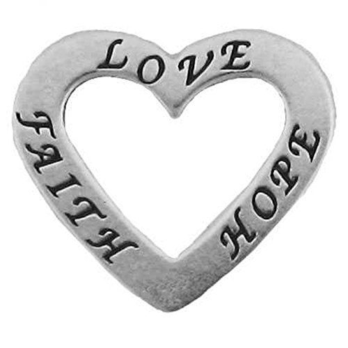 Sterling Silver 30'' Men's 1.5mm Two Sided LOVE FAITH HOPE Heart Shaped Slide Pendant Necklace by Auntie's Treasures (Image #2)