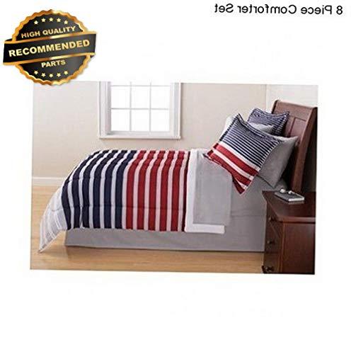 Bedspread Ranch Style (Gatton Premium New Blue Red Grey 8 Piece Size Comforter Set Beddg Bedspread Sheet Set | Style Collection Comforter-311012469)