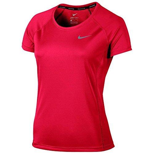 Nike Dry Miler Short-Sleeved Womens Running Top (M, Siren - Top Women Running