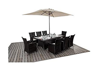 Kingston muebles de jardín 8 plazas mesa de comedor Rectangular ...