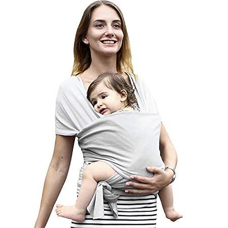Babytragetuch Elastisch babytrage neugeborene ergonomisch babytrage h/üftsitz Bio-Baumwolle 5.5 M F/ür Neugeborene und Babys ab Geburt bis 16 kg Grau