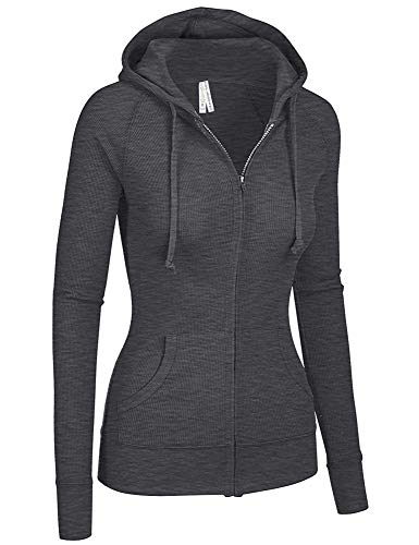 - TL Women's Comfy Versatile Warm Knitted Casual Zip-Up Hoodie Jackets in Colors 35_CHARCOAL L