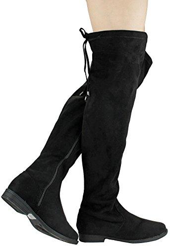 Jjf Shoes Mujeres Sky Punta Redonda Faux Suede Lazo Lazo Elástico Elástico Cuff Over The Knee Flat Botas Negro