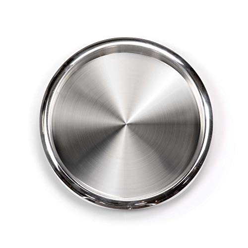 (DecorRack Serving Tray Stainless Steel 12 Inch Round Bar Tray Silver Platter for Serving Cocktails and Beverages at Parties, Restaurants, Bars, and Catering, Serveware with Mirror Finish (1 Pack))