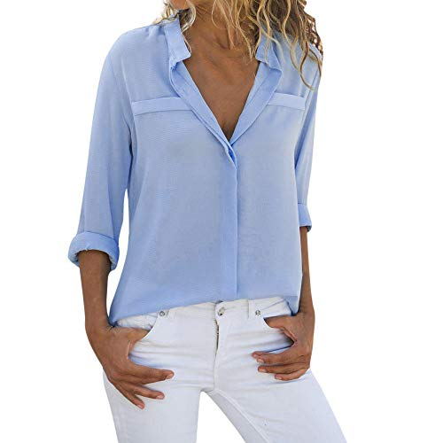 Yxiudeyyr Women Office Work Shirt Long Sleeve Blouse Loose Tops Ladies V Neck Chiffon Top Tee Blue