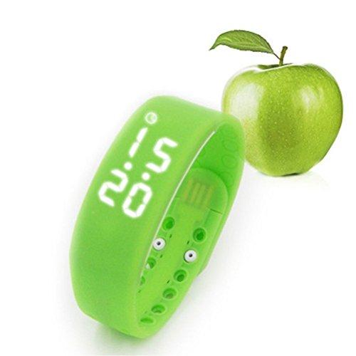 PIXNOR W2 Unisex wasserdicht 3D Sensor LED Kalorien Schrittzähler USB Sport Smart Bracelet Watch Schlaf Monitor mit Datum-Zeit-Temperatur-Display für Sport Fitness (grün)