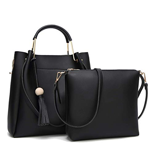 (Womens Hobo Bag Durable Leather Tote Messenger Bag Shoulder Handbag Crossbody Bags for Ladies (Black))