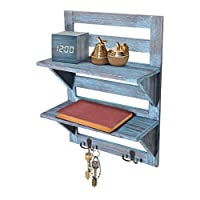 Comfify Rustic Wall Mounted Shelves - Kitchen or Bathroom Farmhouse Rustic Décor - Vintage Wall Shelves with Two Double Iron Hooks & 2-Tier Storage Rack - Decorative Wall Shelf Organizer- Rustic Blue