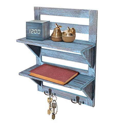 (Comfify Rustic Wall Mounted Shelves - Kitchen or Bathroom Farmhouse Rustic Décor - Vintage Wall Shelves with Two Double Iron Hooks & 2-Tier Storage Rack - Decorative Wall Shelf Organizer- Rustic Blue)