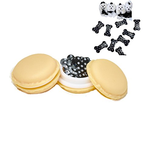 MO Macaron BLACK DOTTED BONE SNAP HAIR CLIPS - 10 BLACK DOTTED BONE SHAPED Hair Clips in MACARON CASE - CUTEST Candy Color Macaron Case Kawaii - Bone Clips for Maltese, Yorkie, puppy, dogs