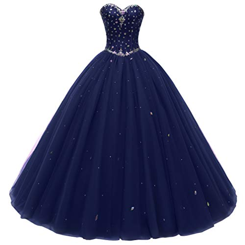 Beautyprom Women's Sweetheart Ball Gown Tulle Quinceanera Dresses Prom Dress (US2, Navy)