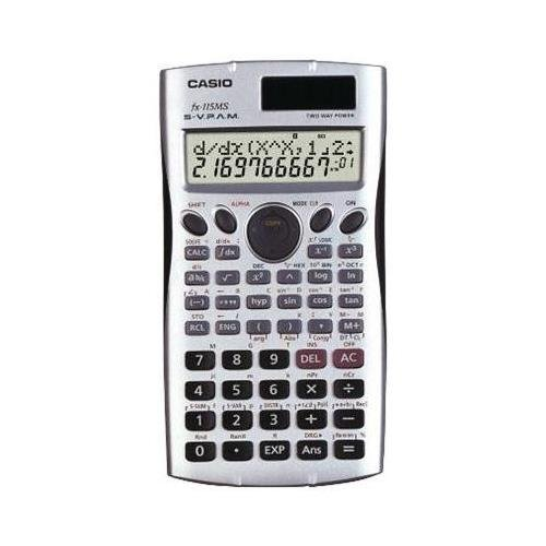 Casio FX115MS Scientific Calculator - 279 Functions - 2 Line(s) - 10 Character(s) - LCD - Solar, Battery Powered - 0.5'' x 3.1'' x 6.1'' - Silver by Casio