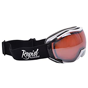 Rapid Eyewear Tahko SKI and SNOWBOARD GOGGLES TO WEAR OVER GLASSES for Men and Women. Mirror UV Double Lens Anti Fog System. OTG Fit Over Your Spectacles. Black & White With Orange Mirror Lenses