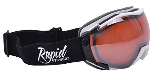 Rapid Eyewear Tahko SKI and SNOWBOARD GOGGLES TO WEAR OVER GLASSES for Men and Women. Mirror UV Double Lens Anti Fog System. OTG Fit Over Your Spectacles. Black & White - Eye Sunglasses Cat White Uk
