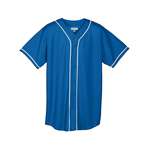 Augusta Sportswear BOYS' WICKING MESH BUTTON FRONT BASEBALL JERSEY WITH BRAID TRIM hot sale