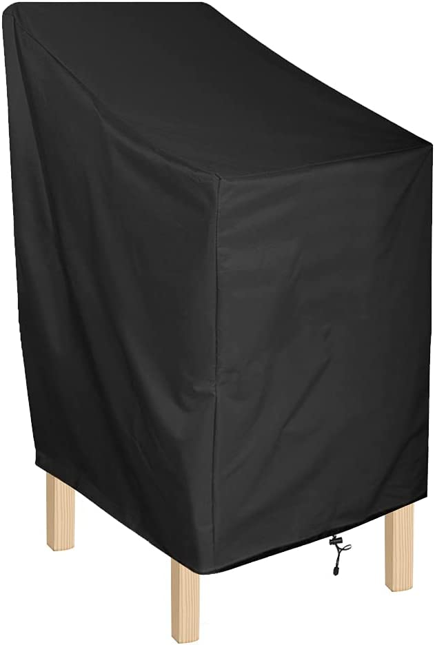 ANMINY Waterproof Patio Chair Covers Outdoor High Back Stackable Dining Bar Stool Lawn Chair Cover Furniture Protector UV Resistant Black Pack of 1