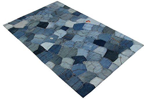Fashion Contemporary Vintage Retro Denim Pockets Area Rug, 36x48