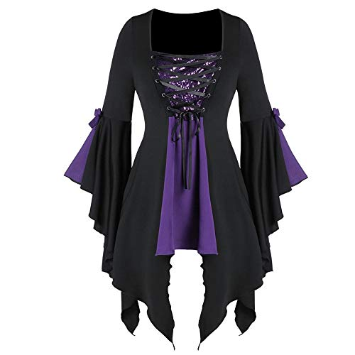 LOKODO Women Halloween Gothic Costume Plus Size Long Sleeve Tops Sequined Blouse Lace Up Tunic Tee Ball Gowns Dress Purple 5XL