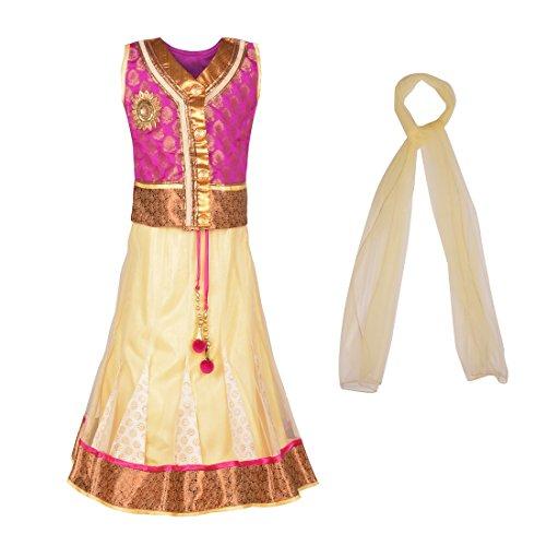 aarika-little-girls-self-design-party-wear-lehenga-choli-set-5-6-years-rani-amul