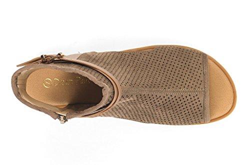PAIRS Fashion Flat DREAM Open Sandals Toe Taupe Women's RUULE Pxqwwtd7ZR