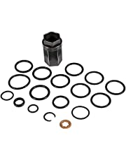 "For 2003-2010 Ford 6.0L Powerstroke Oil Rail Leak Repair Kit High Pressure Oil Rail Ball Tube Socket with 1/2"" Drive Nipple Cup Socket, 8:O-Rings, Set of 9 Injector Seal Kit"