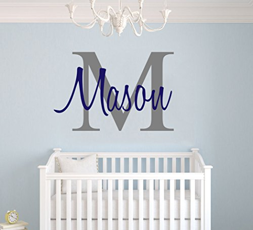 Custom Name & Initial - Premium Series - Baby Boy - Wall Decal Nursery for Home Bedroom Children (M511) (Wide 22'' x 15'' Height) by cryptonite