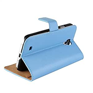 Cowskin Flip Wallet Card Pouch Stand Back Phone Case For Samsung Galaxy S4 I9500 Blue