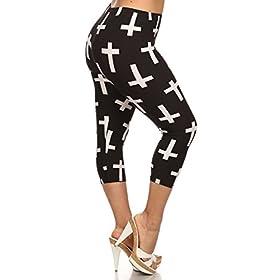 - 41ZGDkn6RYL - Leggings Depot Women's Plus Size High Waisted Capri Print Leggings