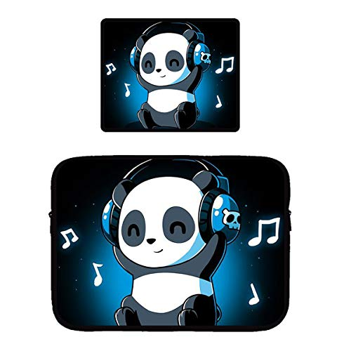 White and Black Panda Animal Headphones Music Zipper Waterproof Tablet Sleeve Neoprene Vertical Style Protective Notebook PC Travel Pouch Bag with Non-Slip Base Mouse Pad, Premium-Textured
