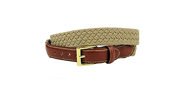 fe31ef30e0e8 Loggins & Messina Woven Cotton Leather Tab Belt in Khaki by Country Club  Prep at Amazon Men's Clothing store: