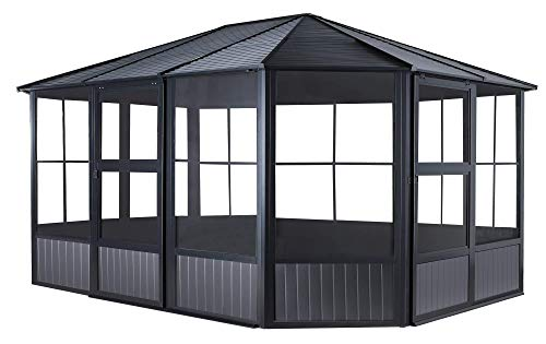 Sojag 12' x 15' Charleston Solarium Outdoor Sunroom with Mosquito Nets, Dark Grey (Enclosed Patio)