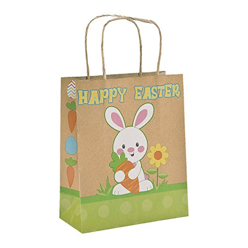 Brown Paper Happy Easter Bunny Gift Bags (Pack